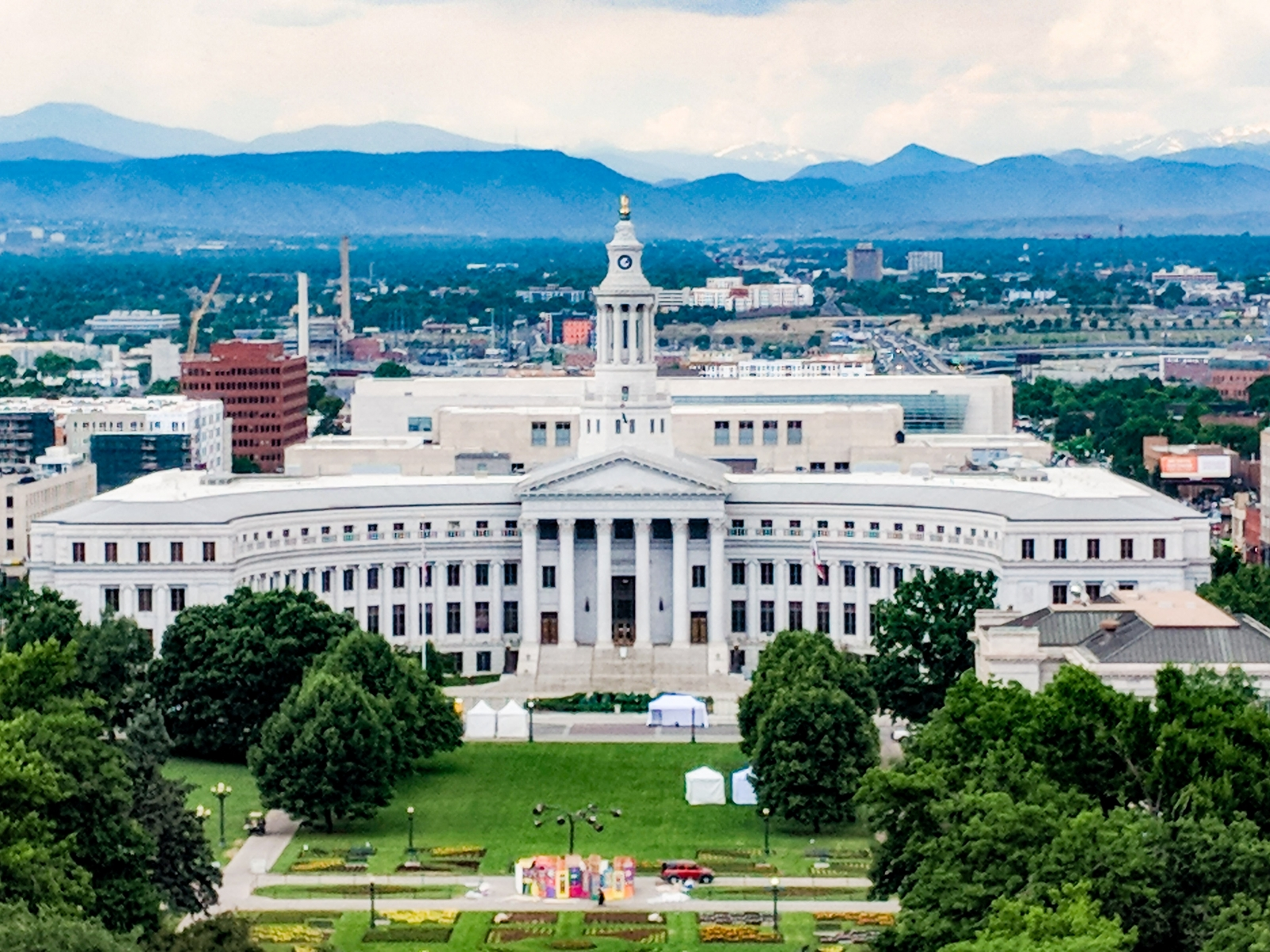View of Denver City Council from top of Colorado State Capitol
